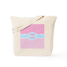 Pink Blue Dots Chevron Personalized Tote Bag