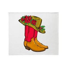 Christmas Cowboy Boots Throw Blanket