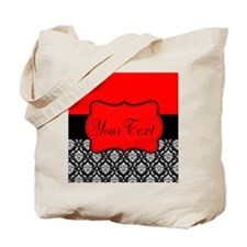 Personalizable Red Black Tote Bag