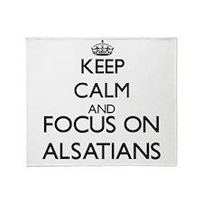 Keep calm and focus on Alsatians Throw Blanket