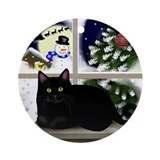 Black Cat Snowman Ornament (Round)
