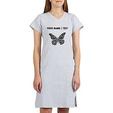 Custom Butterfly Silhouette Women's Nightshirt