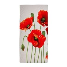 Painted Red Poppies Beach Towel