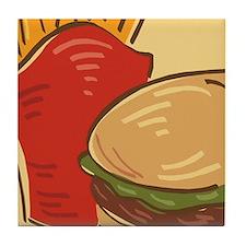 Hamburger and Fries Tile Coaster