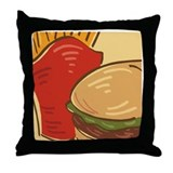 Hamburger and Fries Throw Pillow