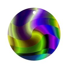 SWIRLY RAINBOW Ornament (Round)