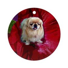 PEKE IN A HOLLYHOCK Ornament (Round)
