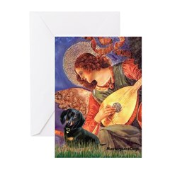 Mandolin Angel & Doxie (BT) Greeting Cards (Pk of
