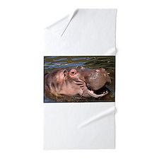 Happy African Hippo in water Beach Towel