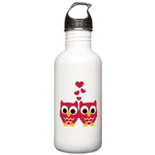 Red owls hearts Water Bottle
