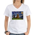 Starry / Dachshund Women's V-Neck T-Shirt