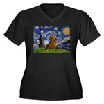 Starry / Dachshund Women's Plus Size V-Neck Dark T