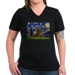 Starry / Dachshund Women's V-Neck Dark T-Shirt