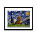 Starry / Dachshund Framed Panel Print