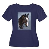 horsey Women's Plus Size Scoop Neck Dark T-Shirt