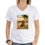 Garden (VG) & Dachshund Women's V-Neck T-Shirt