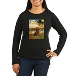 Garden (VG) & Dachshund Women's Long Sleeve Dark T
