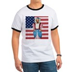 Dachshund Patriotic Dog Tiger Ringer T