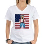 Dachshund Patriotic Dog Tiger Women's V-Neck T-Sh