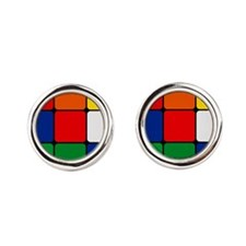 Color Blocks Cube Round Cufflinks
