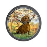 Spring / Dachshund Wall Clock