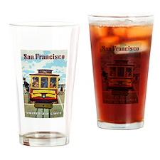 San Francisco Trolley; Vintage Poster Drinking Gla