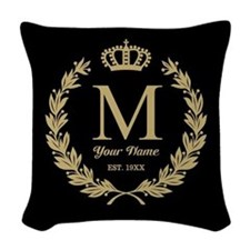 Monogrammed Wreath & Crown Woven Throw Pillow