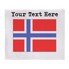 Custom Norway Flag Throw Blanket