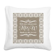 Bride And Groom Monogrammed Square Canvas Pillow