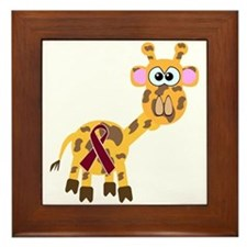 Burgundy Awareness Ribbon Giraffe Framed Tile