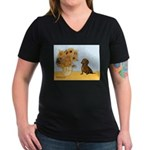 Sunflowres / Dachshund Women's V-Neck Dark T-Shirt