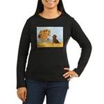 Sunflowres / Dachshund Women's Long Sleeve Dark T-