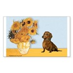 Sunflowres / Dachshund Sticker (Rectangle)