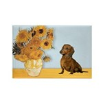 Sunflowres / Dachshund Rectangle Magnet (10 pack)
