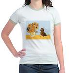 Sunflowres / Dachshund Jr. Ringer T-Shirt