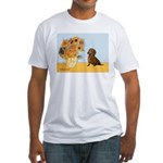 Sunflowres / Dachshund Fitted T-Shirt