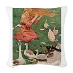 The Goose Girl_PURPLE.png Woven Throw Pillow