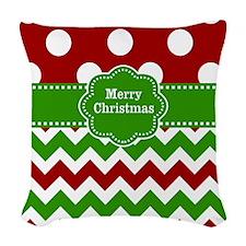 Red Green Christmas Woven Throw Pillow