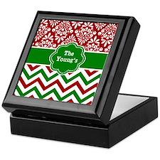 Red Green Damask Chevron Personalized Keepsake Box