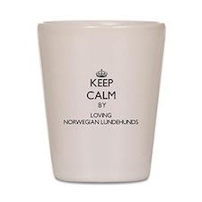 Keep calm by loving Norwegian Lundehund Shot Glass
