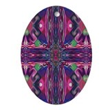 Magenta 'Stained Glass' Cross Oval Ornament