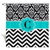 Black teal Shower Curtains