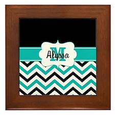 Black Blue Chevron Personalized Framed Tile