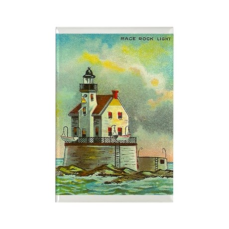 Race Rock New York Lighthouse Rectangle Magnet