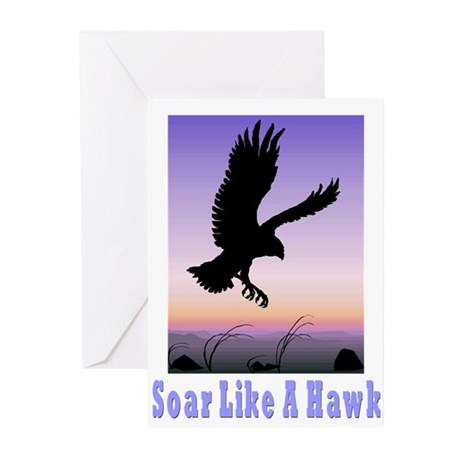 Flying High Soar Like A Hawk Greeting Cards (Packa