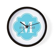 Turquoise Custom Personalized Monogram Wall Clock