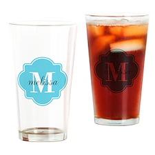 Turquoise Custom Personalized Monog Drinking Glass