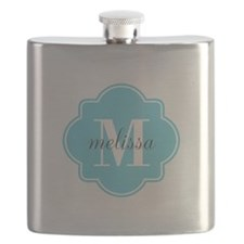 Turquoise Custom Personalized Monogram Flask
