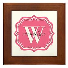 Pink Custom Personalized Monogram Framed Tile