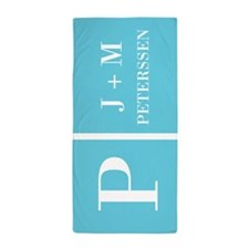 Turquoise Personalized Name Monogram Beach Towel